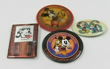 Disneyana Convention Mixed Pinback Button Lot of 4 including Lenticular