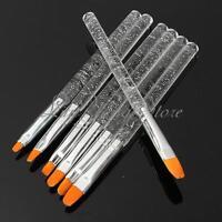 7pcs UV Gel Acrylic Crystal Nail Art Design Builder Salon Painting Brush Pen Set