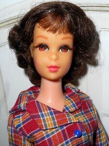 Vintage Barbie FLIP HAIR BRUNETTE FRANCIE IN CLONE PLAID JAPAN BLUE BUCKLE SHOES