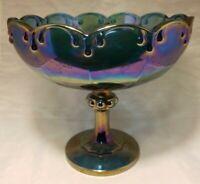 Vintage Indiana Blue Carnival Glass Garland Tear Drop Center Bowl Compote Large