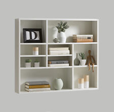 Regal Mika, Bücherregal, weiß, Wandregal, Hängeregal, 9 Fächer, Wandboard, Board