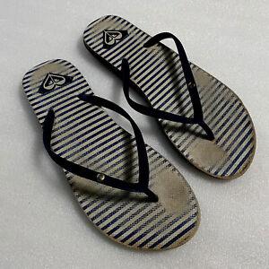 ROXY Blue Stripe Slippers Zori Flip Flops Women's US 7/8 EUR 40/41 Pre-Owned GUC