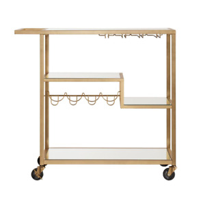 Allyon Champagne Gold Bar Cart With Wine Glass Storage Crafted Steel Framing