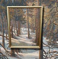 Stimmungsvolle Winterlandschaft Original Ölgemälde tolle Lichtstimmung 2seitig!