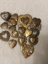 For Jewelry & Crafting vintage 17 Brass Heart Theme Stampings, Assorted-