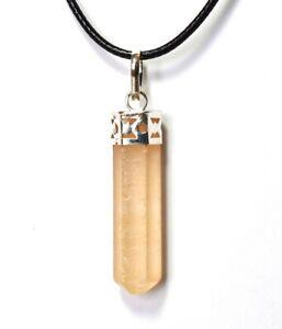 Reiki Energy Orange Selenite Crystal Gemstone Necklace Pendant Gift Wrapped