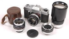 Topcon Auto 100 w/Three Lens Set - 35mm/53mm/200mm UV Topcors - Nice