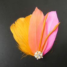 Orange Coral Hot Pink Silver Feather Fascinator Headpiece Hair Clip Vtg 20s 324