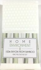 Ivory KING Pillowcases 100% Silky BAMBOO Jacquard Set Pair Home Environment New