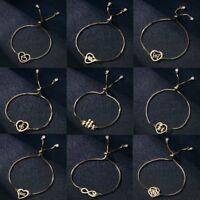 Stainless Steel Women Gold Lovely Heart Love Cuff Bracelet Bangle Chain Jewelry