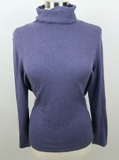 J Jill Womens Polyester Blend LS Solid Blue Turtleneck Sweater Petite Large