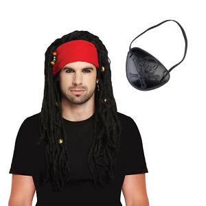 Caribbean Pirate Costume Bandana Set: Dreadlocks Fancy Dress Wig Eyepatch Party