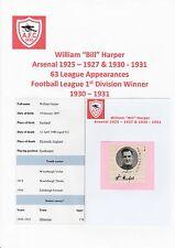 BILL HARPER ARSENAL 1925-27/1930-31  VERY RARE ORIGINAL SIGNED CUTTING & MAG PIC