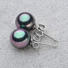 New 6/8/10/12/14mm Rainbow Black South Sea Shell Pearl Silver Stud Earrings AAA+