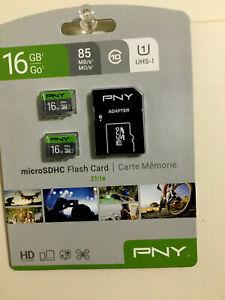 PNY SDHC Flash Card 16GB Prime MicroSD 2-pk Elite - NEW