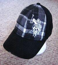 US POLO ASSOCIATION vtg corduroy hat 1980s plaid baseball cap embroidery B&W