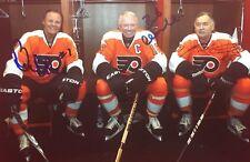 Flyers Lcb Line Bobby Clarke Bill Barber Reggie Leach Signed 5x7 Photo