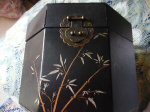 Octaganol Black Oriental style faux leather covered medium size storage box - ba