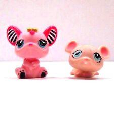 "Littlest Pet Shop Mice Pink w/ Striped Ears 1.5"" H & Lighter Pink 1"" H Lot 2"
