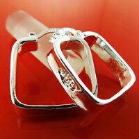 Hoop Earrings Real 925 Sterling Silver S/F Ladies Square Italian Design