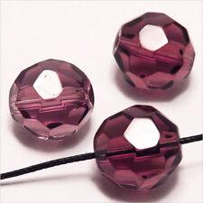 Lot de 10 perles à FACETTES 14mm en Cristal de Bohème Améthyste