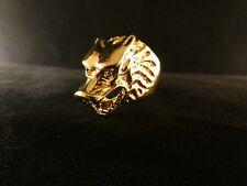 Biker Ring Wolf Tier 24 Karat Vergoldet Skull Fashion Edelstahl Gold Gothik