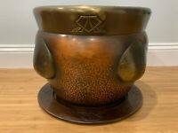 Antique Carl Deffner Jugendstil Art Nouveau Copper & Brass Planter & Under Plate