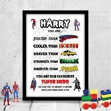 Personalised Birthday gift for child, son, brother boy SUPER HERO A4 gloss print