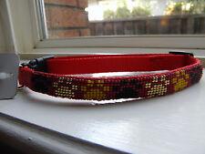 Beaded dog collar paw prints medium nylon red adjustable