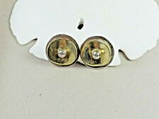 Sterling Silver 925 Modernist CZ Round Disc Circle Gold Filled Post Earrings