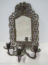 Antique Victorian Bradley & Hubbard bevel edge Mirror triple Candle Holder