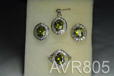 Cubic Zirconia Round Green Stones Earring/Ring/Pendant 5 Micron Silver-Plated