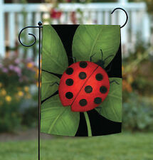 New Toland - Ladybug - Green Leaf Red Black Spots Spring Garden Flag