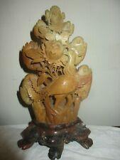 "10"" Carved Soapstone Asian Chinese Vase On Pedestal, Bird Of Paradise, Flowers"