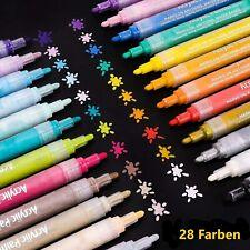 Acrylstifte Marker 28 Farben Set mittlere Strichstärke Glas Stein Papier Holz