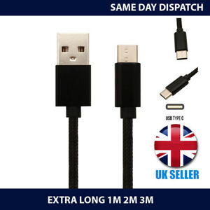 For Samsung Galaxy A40 (2019) Charger Cable USB-C Charging Lead 1M 2M 3M Long