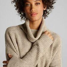 Eileen Fisher New RED Yak Merino Funnel Turtleneck Boxy Box Top Sweater PS $298