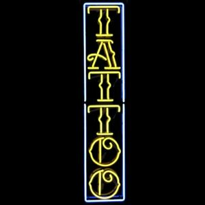 """New Tattoo Vertical Neon Light Sign 24""""x10"""" Lamp Poster Real Glass Beer Bar"""