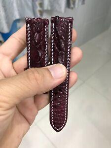 20mm RED HORNBACK GENUINE ALLIGATOR CROCODILE SKIN HANDMADE WATCH STRAP BAND
