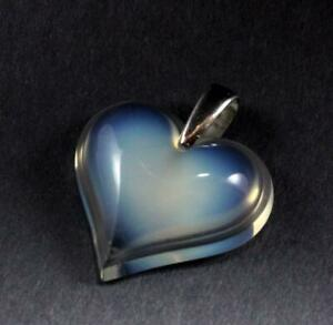 LALIQUE COEUR HEART LOVE OPALESCENT CRYSTAL 925 STERLING SILVER NECKLACE PENDANT
