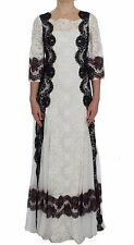 NWT DOLCE & GABBANA Dress White Floral Lace Full Length Gown IT38 /US4/XS
