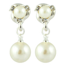 Xmas Clip On Chic Cream Ivory Pearl Crystal Rhinestone Dangle Silver Earrings