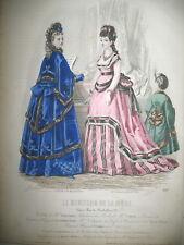 N° 28 TOILETTE COSTUME LITHO 21 x 30 CM PAR BONNARD LE MONITEUR DE LA MODE 1870