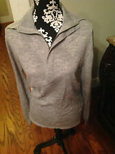 Women's Lacoste Gray 1/2 Zip Pullover Collared Wool Sweater Size 7 8 XL NWT $250