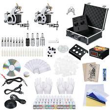 Complete Tattoo Kit 2 Machine Guns 40 Ink Set LCD Power Supply Equipment w/ Case
