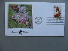 USA, cover FDC 1987, American wildlife, butterfly Monarch