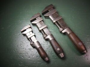 OLD USED VINTAGE MECHANICS TOOLS COES' WOOD HANDLED ADJUSTABLE WRENCHES GROUP