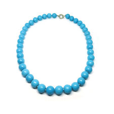 """Turquoise Howlite 12 mm Gemstone Bead Statement Necklace With Trigger Clasp 17"""""""