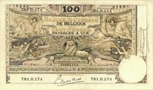 Belgium 100 Francs Currency Banknote 1919