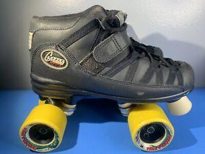 RIEDELL CARRERA Vintage Speed Roller Skates Size 6 Black Leather Quad Cruiser